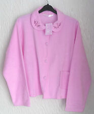 LADIES  FLEECE LONG SLEEVED PINK BUTTON FRONTED BED JACKET SIZE (20/22)
