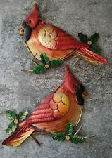 VTG Metal Glass 3D Wall Hanging Art Cardinal Christmas Holiday Pair Birds