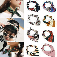 Women Elegant Square Silk Feel Soft Satin Scarf Vintage Head-Neck Hair Tie Band