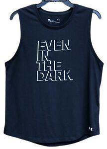 """Under Armour Heat Gear Youth Tank Top Size L """"Even In The Dark"""". Excellent Cond."""