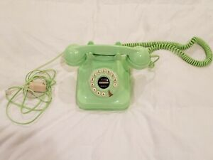 Pottery Barn Retro Grand Phone Push Button Rotary Style - Lime Green - Working