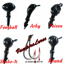 3/8oz Black Jig Heads w/ Mustad Hooks Football Round Poison Arky Shake-It New