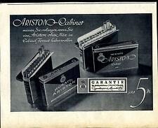 MURATTI -- Ariston cabinet -- maintenant 5 pf -- garantie bas -- publicité de 1937 -