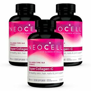 3 x NeoCell Super Collagen +C Type 1 & 3 120 Tablets, FRESH, Made In USA