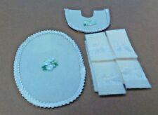 Dollhouse Miniature Cream Handcrafted set 6 Silk Ribbon Bow Bath Towels & Rugs