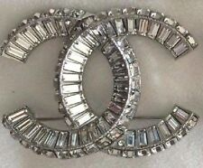 BNIB CHANEL LARGE CRYSTAL CC LOGO SILVER JUMBO PIN BROOCH AUTHENTIC