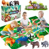 Safari Animal Figurines Toys with Activity Play Mat Realistic Plastic Jungle new