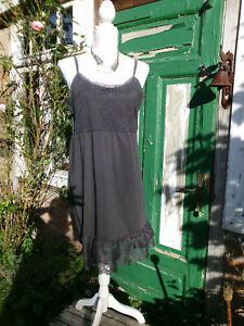 Lagenlook  Spitzen Kleid Unterkleid von Cream DK   Dunkel Grau Gr:XL   42 44 46