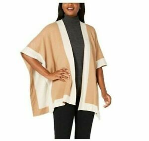 Charter Club Solid Knit Reversible Poncho, Oatmeal, One Size