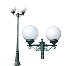 "TP Lighting 86"" 2 Globes Green Patina Outdoor Post Pole Light OT0015-PL-2"