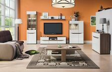 LIONEL LIVING ROOM BEDROOM FURNITURE WHITE HIGH GLOSS TRUFFLE OAK EFFECT COLOUR