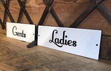 Gents Ladies Porcelain Rest Room Sign Vintage Door Tag Men Women Bathroom Toilet