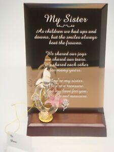 "Beveled Bronze Glass ""My Sister"" w/blown glass Hummingbird Décor on Stand"