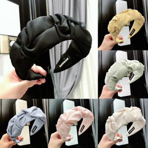 Women Solid Color Wide-brim Knotted Hair Hoop Fashion Irregular Pleated Headband