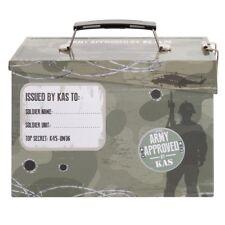 KIDS ARMY AMMO LUNCH TIN HINGED FLIP LID BOYS SOLDIER TOY STORAGE BOX LUNCHBOX