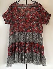 Womens Huntingbird Sheer Contrast Floral And Leopard Print Layered Dress Size 12