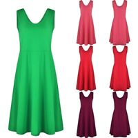 Casual Dress Skirt Party Skater Waist Swing Mini High Line Women Sleeveless