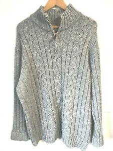 "M&S North Coast grey chunky knit zip neck jumper XXL/48""-50""Chest"