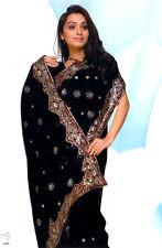 Black Bollywood Wedding Sequin Sari Saree Belly Dance Jupe Oriental Robe Kaftan