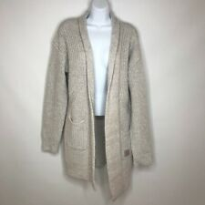 Superdry Womens Mohair Luxe Longline Open Front Cardigan Sweater Light Gray Sz L