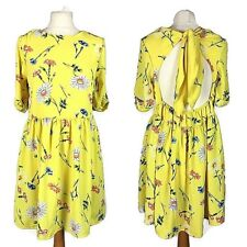 ASOS Yellow Floral Floaty Holiday Backless Skater Fit Flare Dress Size 10