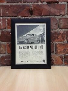 Framed Original Vintage Austin A70 Hereford Car Ad from Punch, January 7, 1953