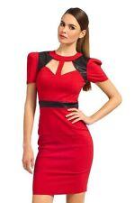 Muñecos de papel rojo negro PU Trim Corte Cuello Lápiz Bodycon Vestido Rrp £ 72 Reino Unido 14 42