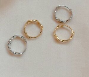 925 Sterling Silver small twist Wave hoop earrings