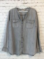 Ann Taylor Womens Tunic Shirt Size XL Gray Long Sleeve Button Up Banded Collar