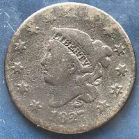 1827 Large Cent Coronet Head One Cent 1c Better Grade #9083