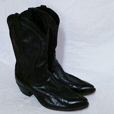 Dan Post Phoenix Leather Cowboy Boots Bucklace Western VTG Rodeo Black 13 D