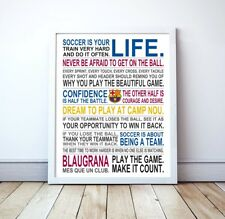 """FC Barcelona """"Soccer Is Your Life"""" Manifesto Poster, 16"""" x 20"""""""