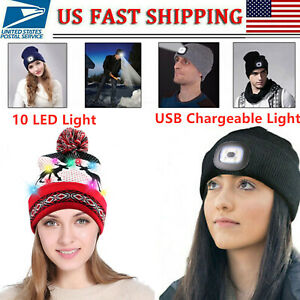 USB LED Beanie Hat Rechargeable Battery Unisex High Powered Head Light Lamp US