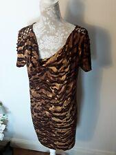 Diane Von Furstenberg animal print dress cowl neck open shoulder stud 12 14