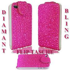 LUXUS für Samsung Galaxy S4 Mini i9195  Strass Flip Tasche Bling Hülle Pink