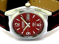 citizen automatic mens steel red dial vintage day/date japan wrist watch run