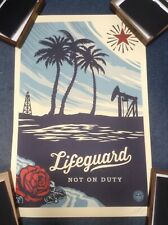 SHEPARD FAIREY  'LIFEGUARD NOT ON DUTY' -  RARE LIMITED PRINT - SIGNED and Dated