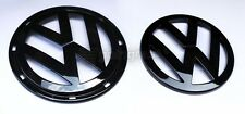 VW Jetta MK5 5 Gloss Black Euro Badge Emblem Logo Front Grill + Rear Trunk Hatch