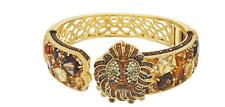 """Judith Ripka Sterling & 14K Clad Gemstone """"Lucas Lion"""" Cuff Bracelet 13.05CT XS"""