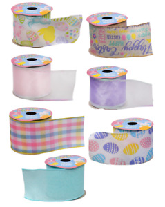 New Wired Edged Ribbon Easter Eggs Blue Pink Purple Plaid Happy Easter ~ Choice