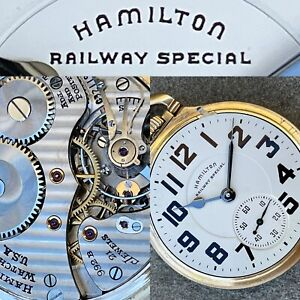 Hamilton 992B 21 Jewel Railroad Pocket Watch Railway Special Dial Runs Great