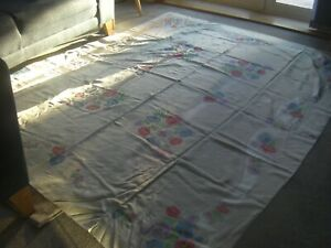 "VINTAGE Irish ""Old Bleach"" DOUBLE DAMASK FLORAL TABLECLOTH, 215cm x 175cm, vgc"