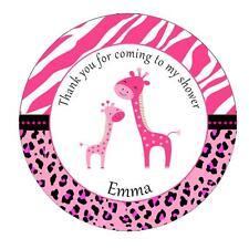 40 Giraffe Stickers Favor Label Baby Girl Shower Hot Pink Zebra Cheetah A1