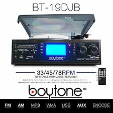 BOYTONE BT-19DJB-C Stereo Record Player Turntable 33 45 AM FM Radio Cassette NEW