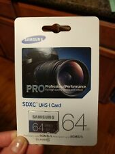 Samsung Pro MB-SG64D SDXC 64 GB Memory Card UNUSED, SEALED, UNOPENED.