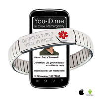 Type 2 Diabetes Medical Alert Bracelet ICE SOS Emergency Identity Diabetic's SMS