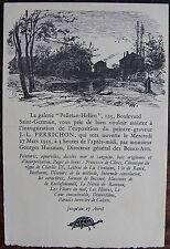 J.L. PERRICHON: Galerie Pelletan helleu. mars 1935, invitation vernissage. Dimen