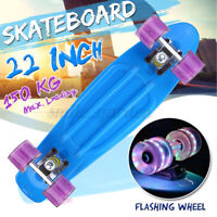 "22"" Kinder Skateboard Mini Cruiser Komplettboard Pennyboard LED-Leuchten Räder"