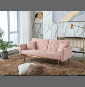 """New 68.9"""" Pink Velvet Couch / Sleeper, Convertible Loveseat, Easy to Clean"""