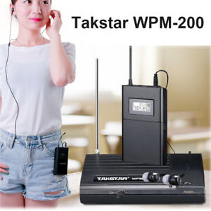 Takstar 50M WPM-200 In Ear On-Stage Stereo Wireless Monitor System UHF 6CH LCD!